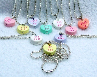 Conversation Heart Valentine Necklace on Ball Chain - You Pick Color and Saying
