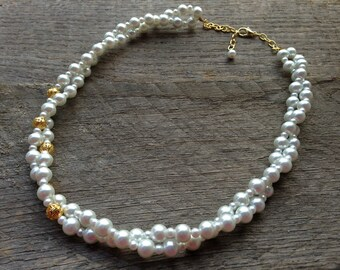 White Asymmetric Pearl Necklace Bridal Necklace Twisted Clusters with Gold or Silver Accent and Chain