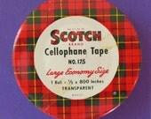 Rare SCOTCH BRAND Cellophane Tape Tin c.1940 Plaid design
