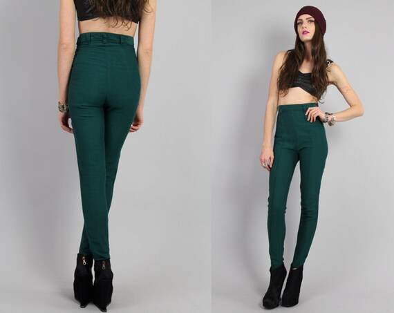 80s 90s Forest Green Hi Waist Skinny Pants XS-S