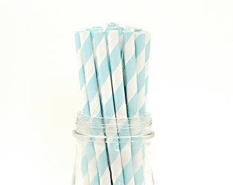 Set of 25 Baby Blue Striped Paper Straws with FREE DIY Printable Flags