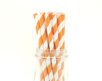Set of 25 Burnt Orange Striped Paper Straws with FREE DIY Printable Flags