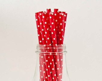 25 Red with Tiny White Polka Dot Straw Retro Vintage Style Carnival Circus Wedding Birthday Bridal Baby Shower W/ Printable Flags