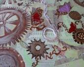 Mechanics of Nature original mixed media steampunk painting 20x16