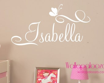 Girls Name Wall Decal   Custom Name Wall Decal   Butterfly Wall Decal    Butterfly Decal