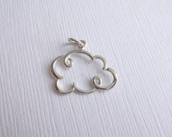 Sterling Silver Cloud Charm -- 1 Piece -- Sterling Pendant