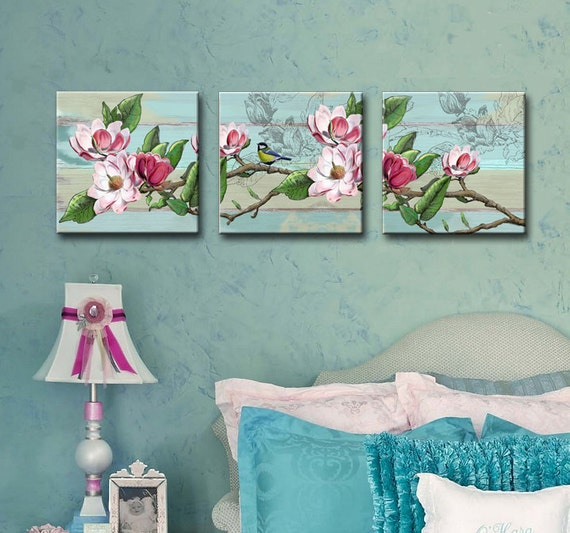 Shabby chic set of 3 canvas art 12x12 girls room by muralmax for Set of three canvas paintings