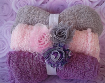 Newborn Photography Cheesecloth wraps and Shabby Rosette  Headband Sets.SET of 3 Cheesecloth  PHOTOGRAPHY Wraps.