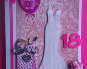 Beautiful Embellished & Decoupaged 18th / 21st Birthday Card - Grandaughter Daughter