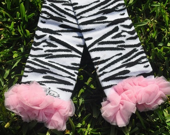 Zebra Leg Warmers with Chiffon ruffle