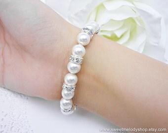 15% OFF SET of 7 Wedding Jewelry Bridesmaid Gift Bridal LUXE White Swarovski Round Pearl Bracelet w Clear White Cubic Zirconia Rhinestone