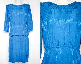 10 Dollar Sale---Vintage 80's SOPHISTICATES PETITES Sky Blue Floral Polyester Dress M