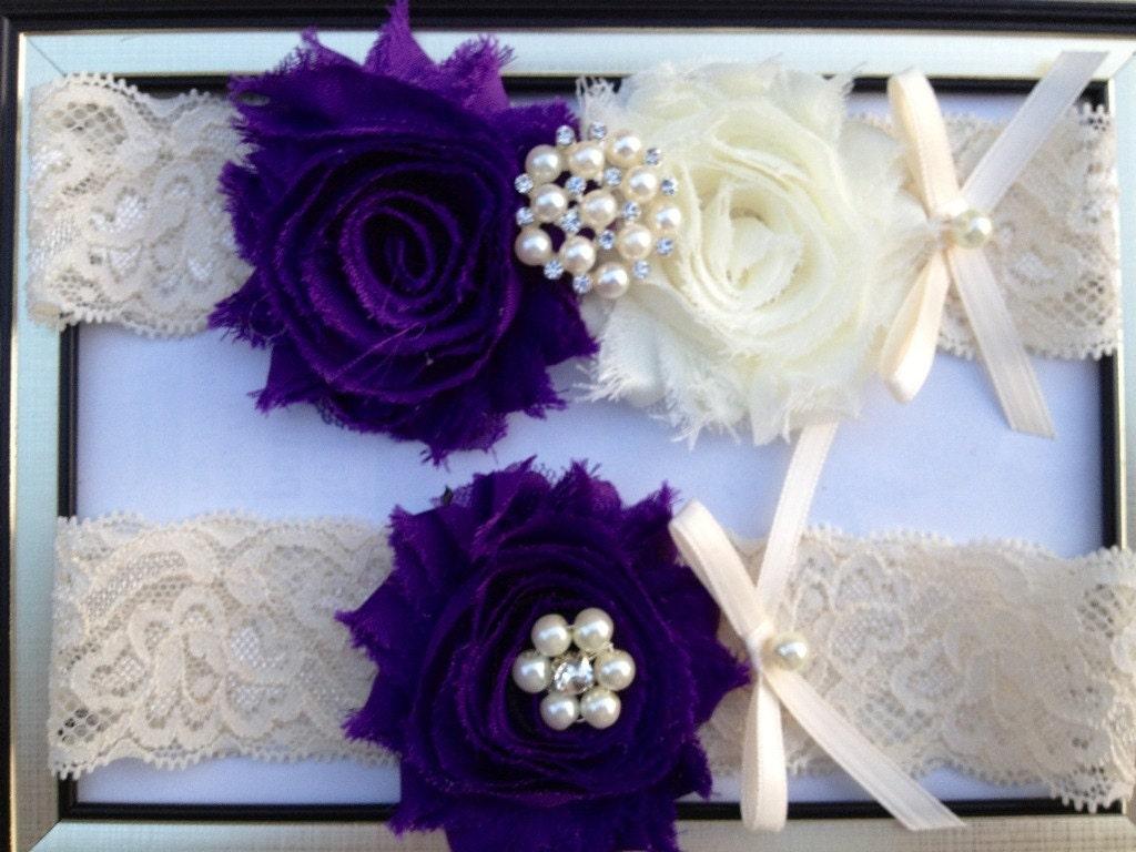 Purple Wedding Garter Bridal Garter Set Ivory Stretch