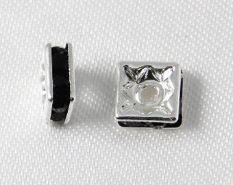10 pcs - 6mm Rhinestone Squaredelles Silver With Black