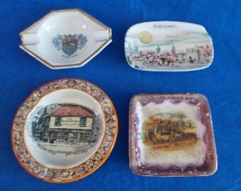 4 Antique Ashtrays Assorted Pottery  1 Germany 1 Bavaria 2 England