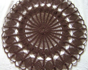 Brown Lace Doily Cover Coaster Handmade crochet