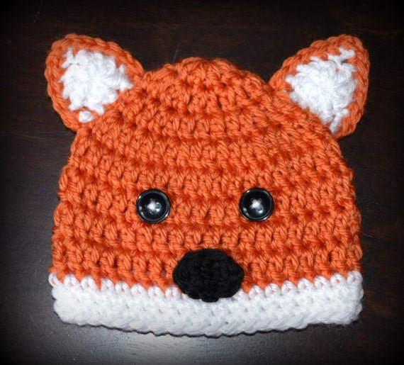 Crochet Fox Hat : Crochet Fox Baby Beanie Hat Photo Prop Custom by CubbyCreations