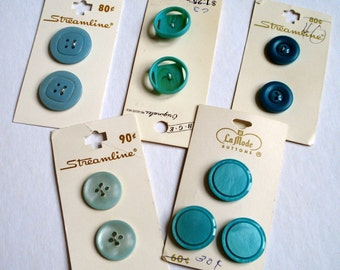Aqua Vintage Buttons, Eleven buttons in five different styles and shades