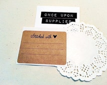 Stitched with Love Product Labels / Knitting Labels / Sewing Labels / Rustic Rectangle Kraft Labels / Gift Labels / Product Care Labels