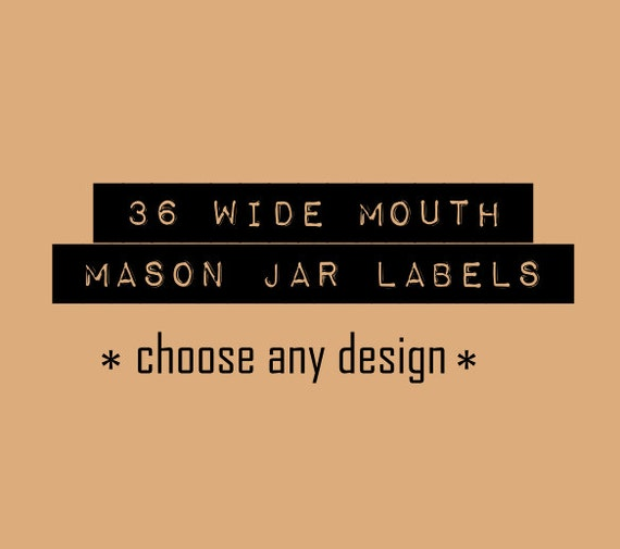 items similar to 36 rustic mason jar labels for wide mouth
