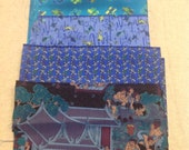 Silk fabric, Blouse weight, 5 pieces.  Japanese? Nature and Scenery prints