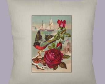 Beautiful Vintage Natuical Design with Bird and Roses HANDMADE 16x16 Pillow Cover - Choice of Fabric
