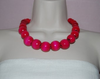 Statement Necklace Chunky Fuchsia Hot Pink Beaded Necklace Wood Bold Necklace and Earrings Set