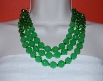 Statement  Necklace Multi-Strand Emerald Green Necklace Kelly Green Crystal Beaded Necklace Chunky Bold Weddings Bridesmaids