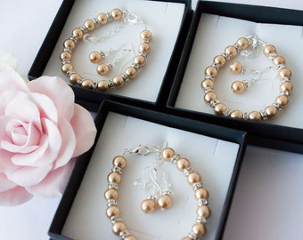 50% OFF SALE 3 Bridesmaids gifts-Pearl Jewelry sets with Bracelet and Earrings