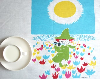 Linen tablecloth kids party white Moomins characters, also table runner , curtains available , great GIFT