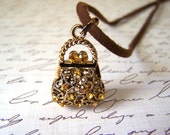 Vintage Gold Tone Orange Rhinestone Purse Pendant Adjustable Necklace / Gift for Her / M253