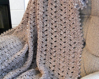Crocheted Blanket in Taupe, Crocheted Afghan, Crocheted Throw, Wedding Gift, Housewarming Gift, Future Family Heirloom