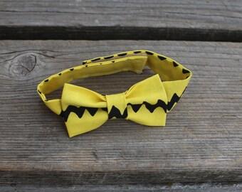 Yellow Chevron Charlie Brown Baby Boy Newborn Toddler Bow Tie Photo Prop