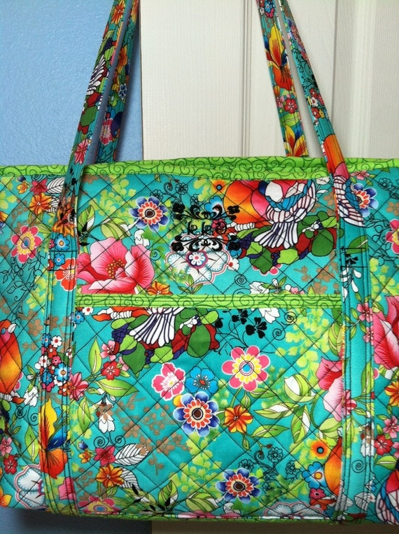 Bright Quilted Diaper Bag Or Carry All Tote With Teal