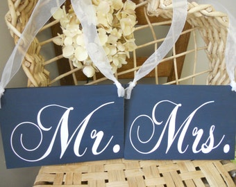 Wedding Signs Navy blue and White Mr and Mrs Chair Signs