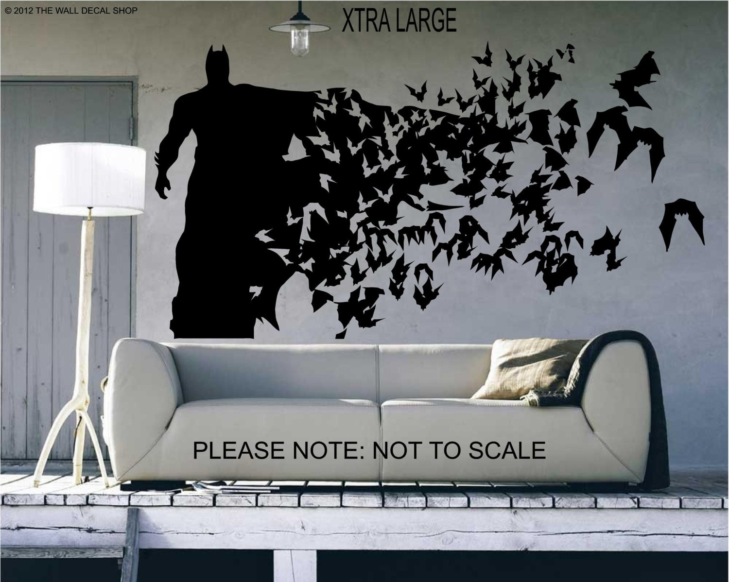 Batman xtra large size wall decal wall art sticker for Black wall mural