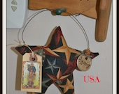 Primitive hanging star ornie, star shaker shelf hanger, Memorial Day decoration, Fourth of July deco, handmade, OFG.
