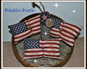 Grungy 4 piece primitive patriotic Americana 4th of July, flags, firecracker, basket filler, tucks, handmade, decoration