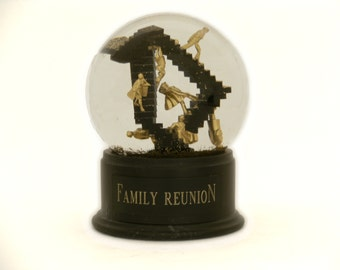 Family Reunion Snow Globe - handmade snow globe with Escher stairs