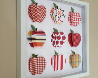Red Apple, 3D Paper Art, 12x12 shadow box frame