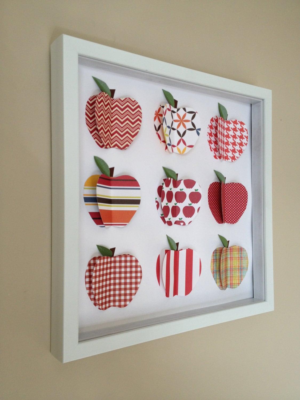 Red Apple 3d Paper Art 12x12 Shadow Box Frame