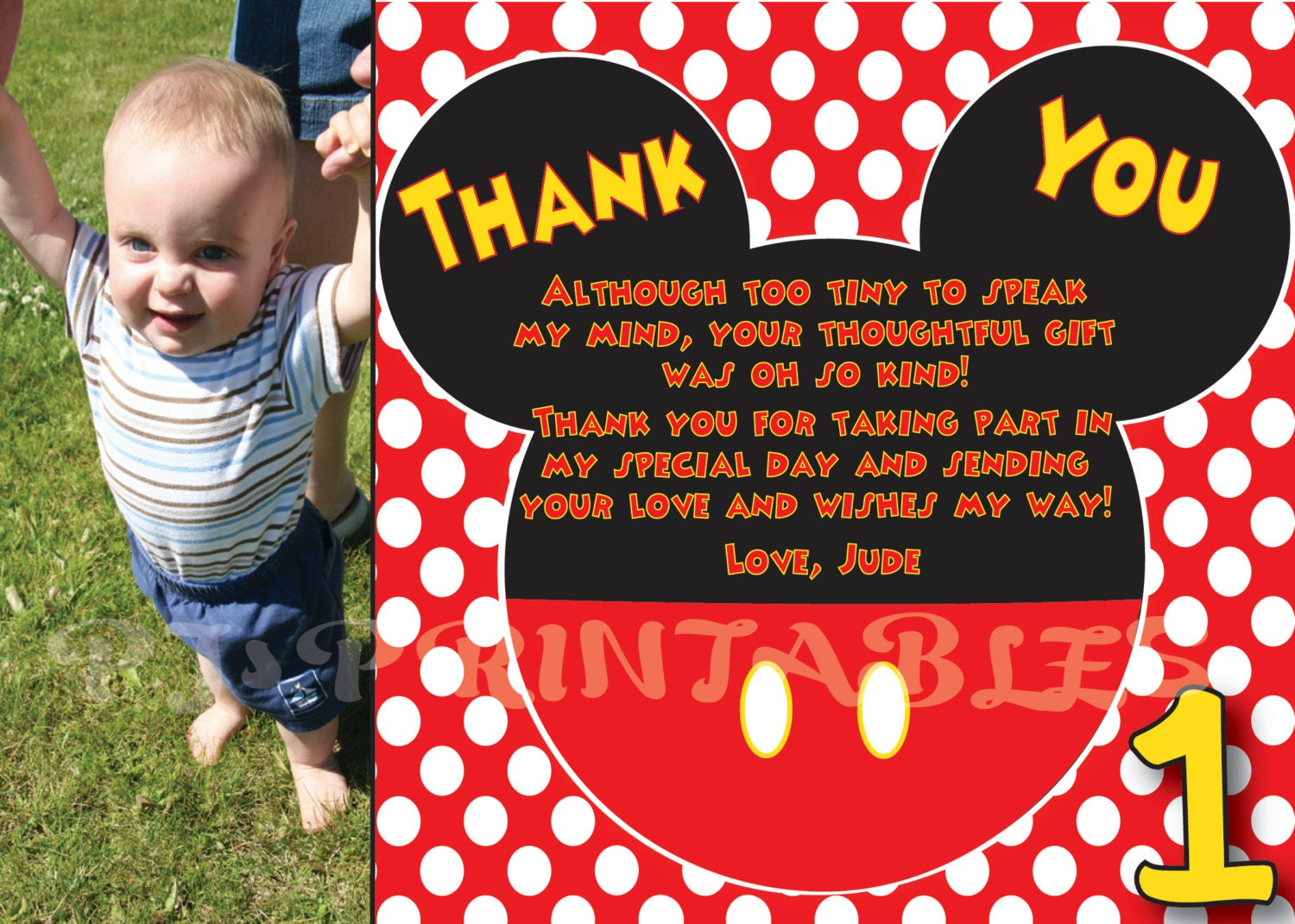 Mickey Mouse Polka Dot Thank You card Custom Digital File – Personalized Birthday Thank You Cards