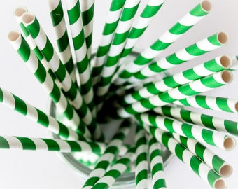 CLEARANCE - Striped Paper Drinking Straws (25) - DARK GREEN - Includes Free Printable Straw Flags