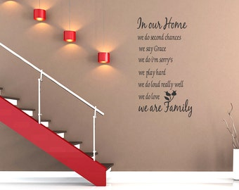 Wall Quotes Family In Our Home Quote Vinyl Decal Sticker Art Removable Wall Sticker Wall Decal Quote (C3)