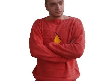 Pear - Mens pink sweater with yellow pear. Handmade. Sizes M, L, XL, XXL