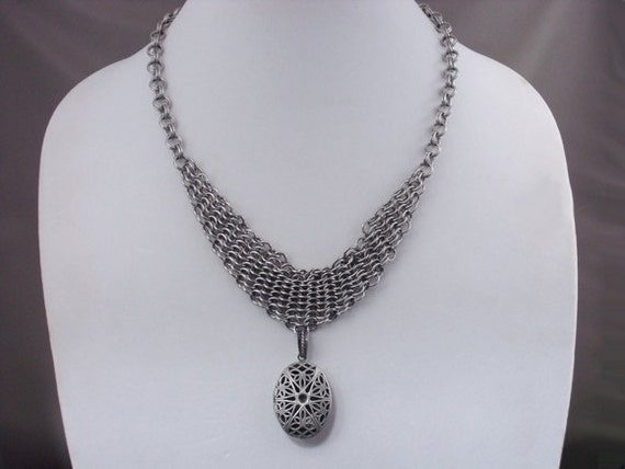 Chainmail Shrug Necklace with Locket
