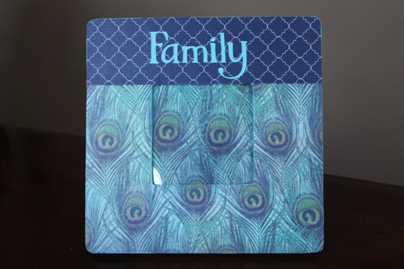 Peacock Feather and Preppy Navy Blue Quatrefoil Trellis Lattice Frame - Personalized
