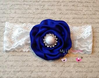Royal blue headband- blue and white lace headband- newborn headband- infant headband- toddler headband-
