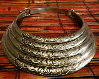 Dragon Breastplate Tribal Choker Necklace Vintage Miao Hmong gypsy ethnic bohemian jewelry