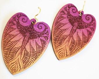 Magenta and Gold Art Nouveau Heart Lotus Earrings
